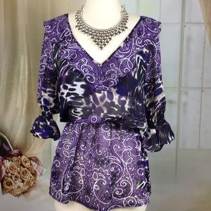 Bisou Bisou Sheer Purple Blouse